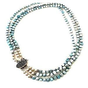 Triple string freshwater pearl necklace
